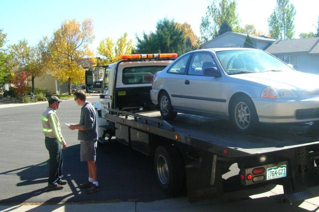 Our car being towed